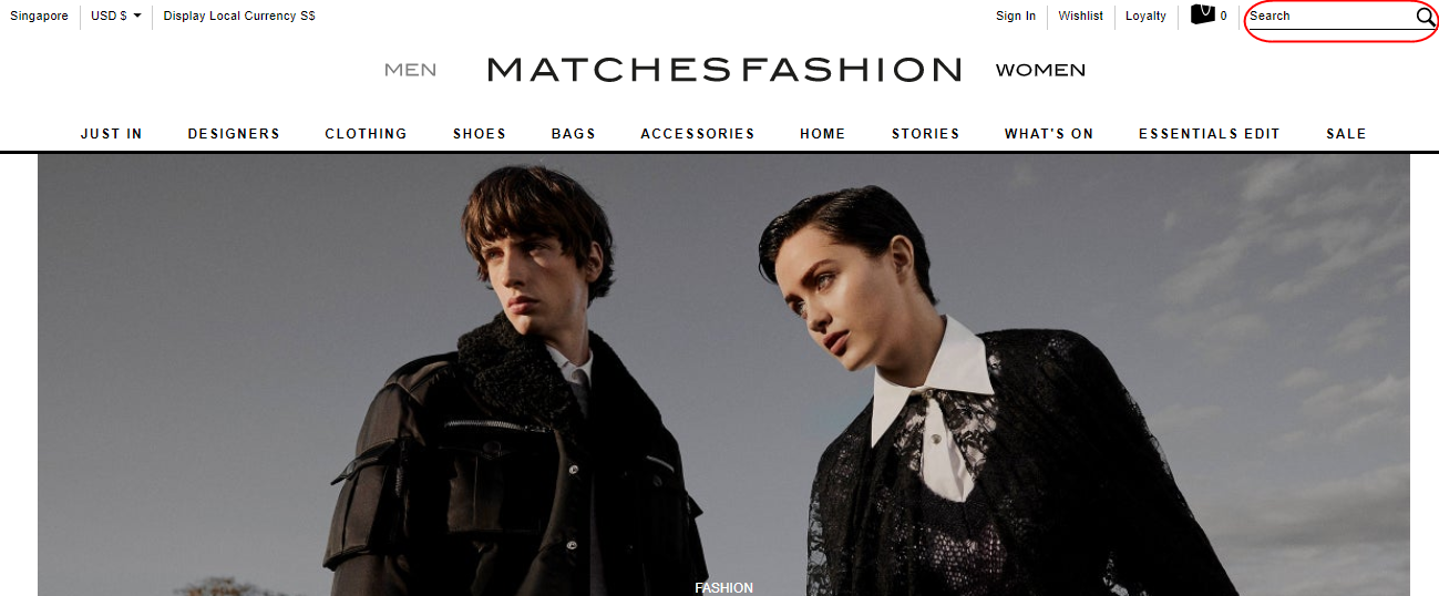 MatchesFashion website homepage.