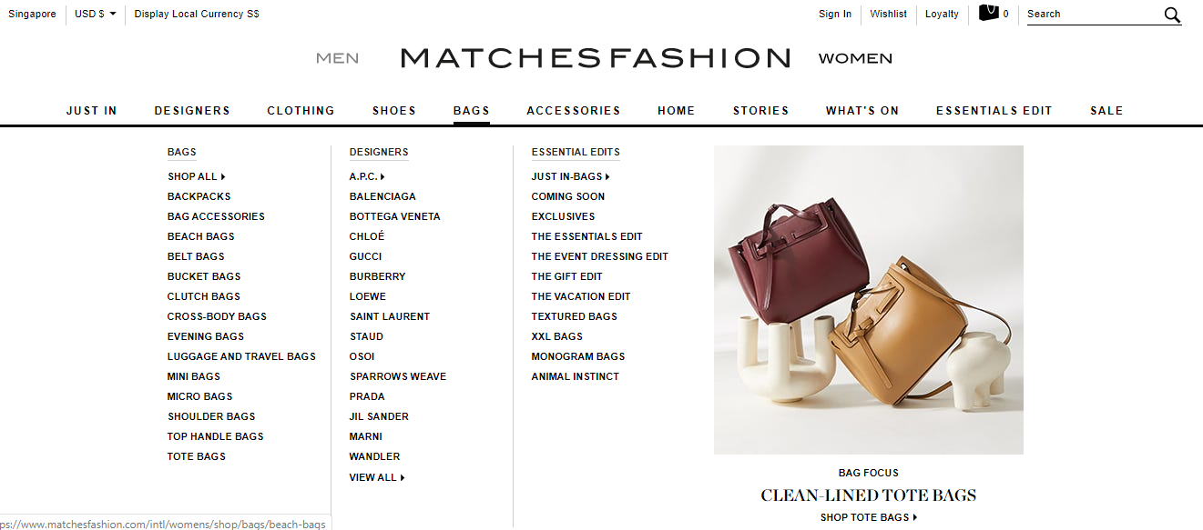 Dropdown of MatchesFashion product categories.