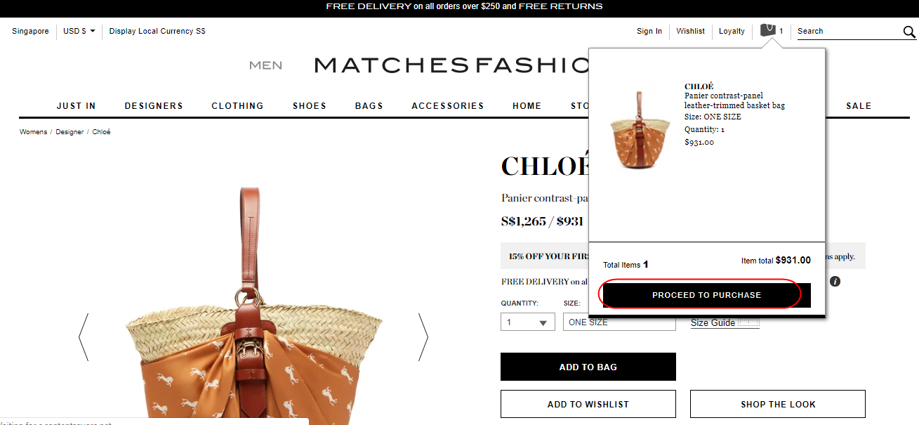 Chloe basket bag added to cart.