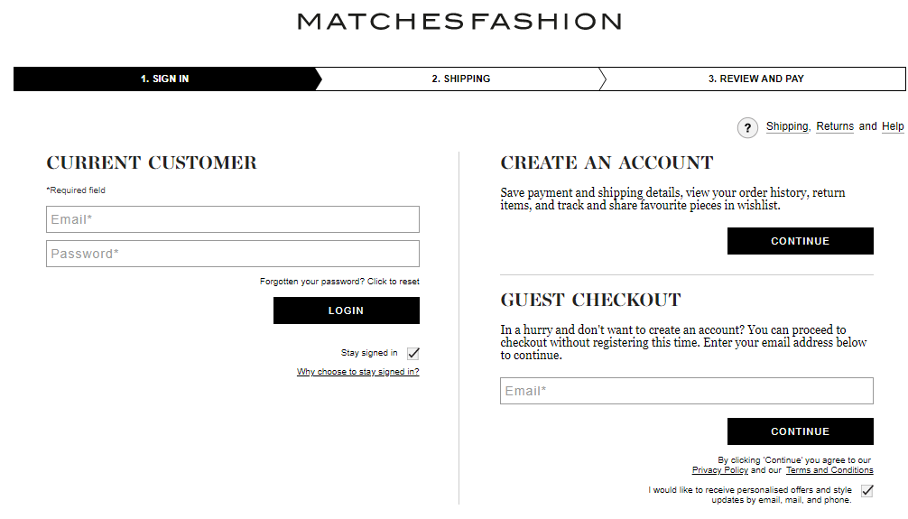 Option to checkout as a current customer or guest.