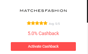 Button to activate MatchesFashion cashback.