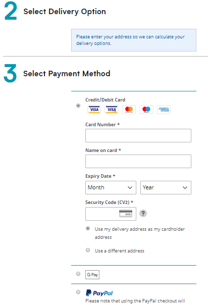 Section to enter card details for payment.