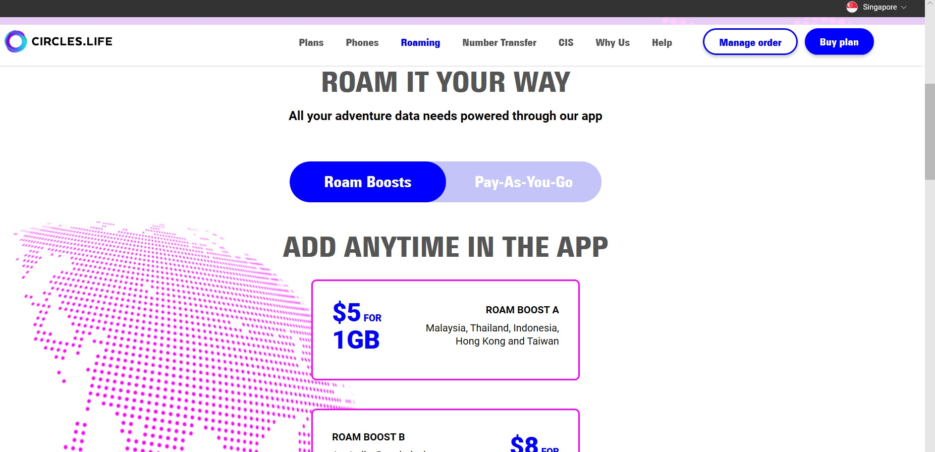 Option to buy data roaming from Circles.Life.