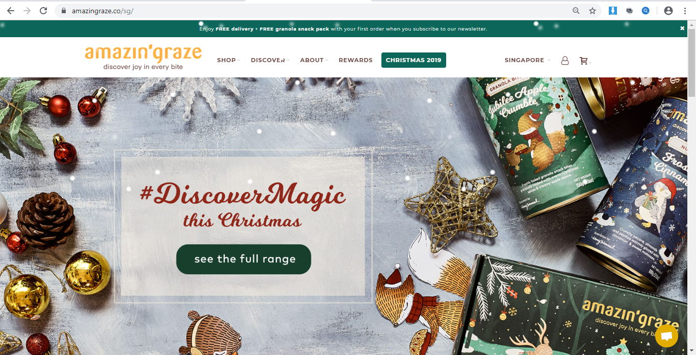 Amazin  Graze website homepage.