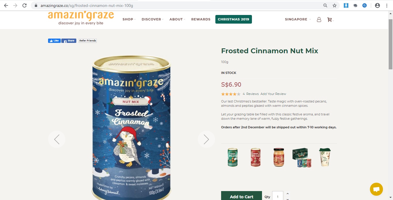 Product page for Frosted Cinnamon Nut Mix.