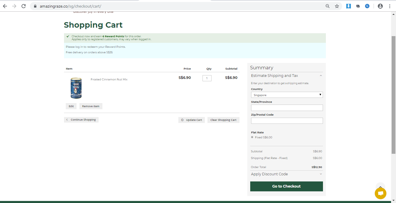 Shopping cart displaying order details.