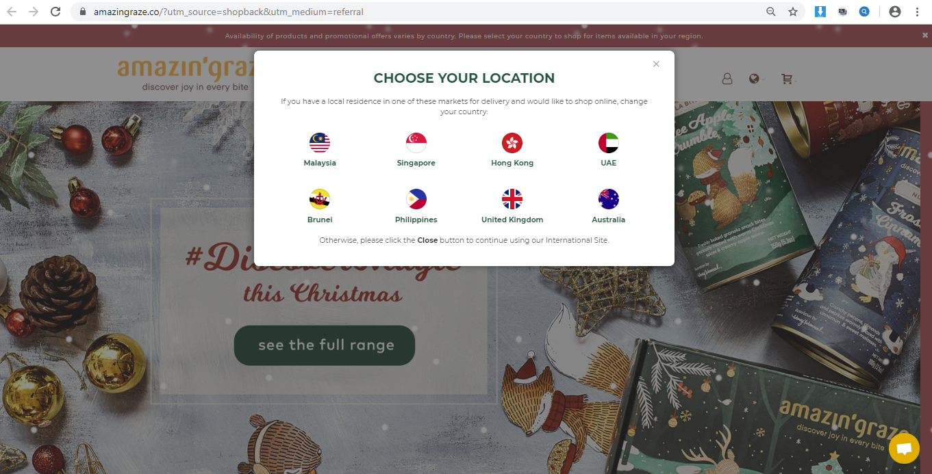 Dropdown to select an Amazin  Graze store in your region.
