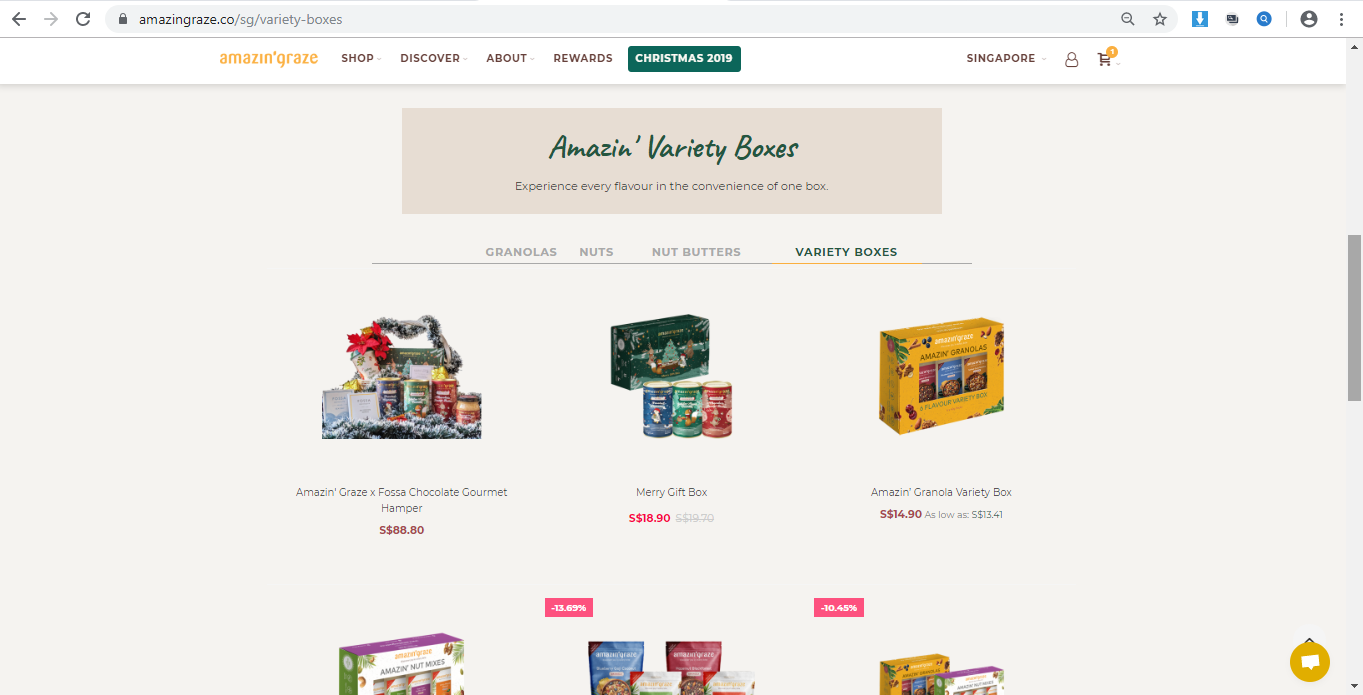 Product catalogue of Amazin  Graze variety boxes.