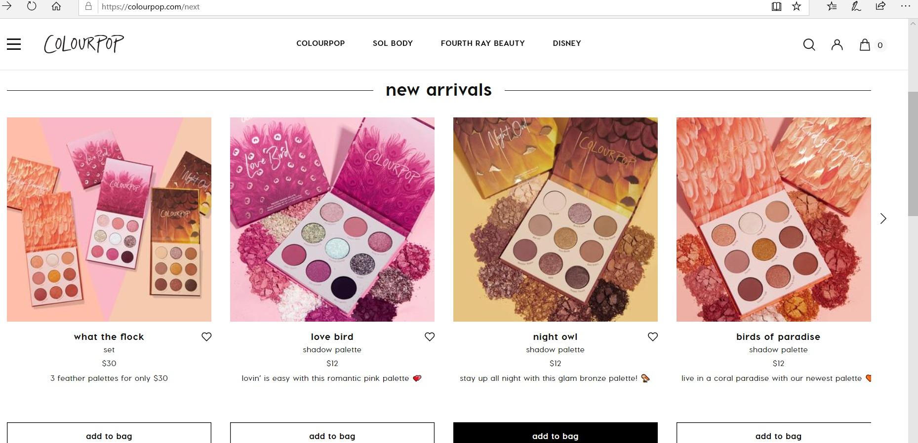 ColourPop product catalogue.