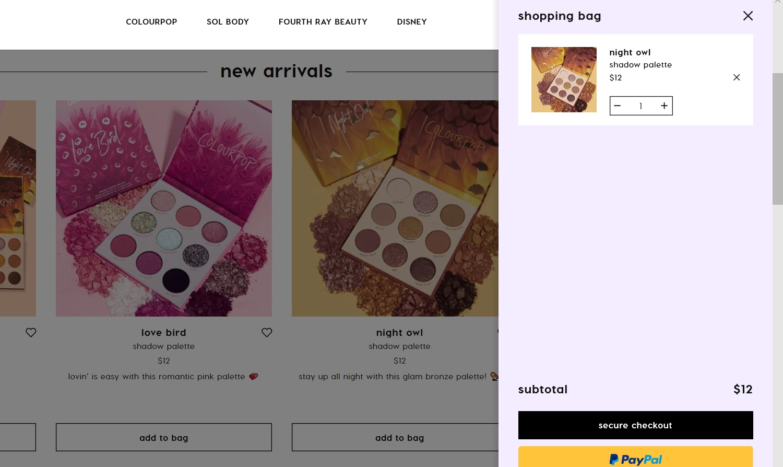 ColourPop eyeshadow palette added to cart.