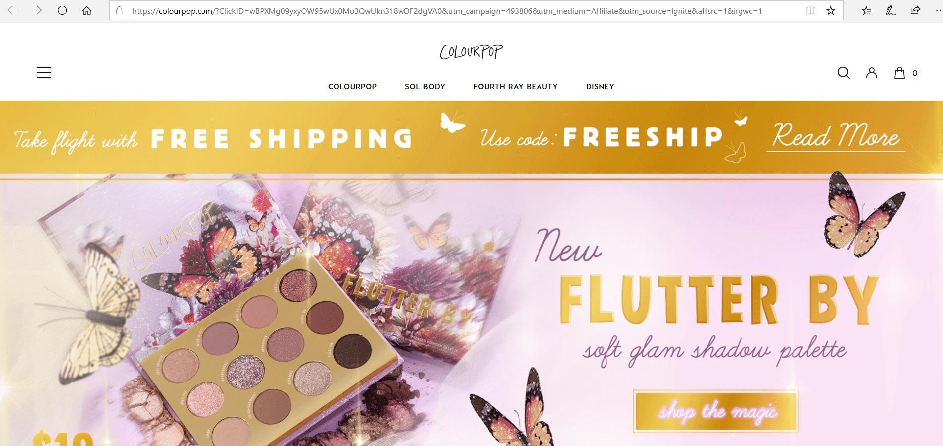 ColourPop website homepage.