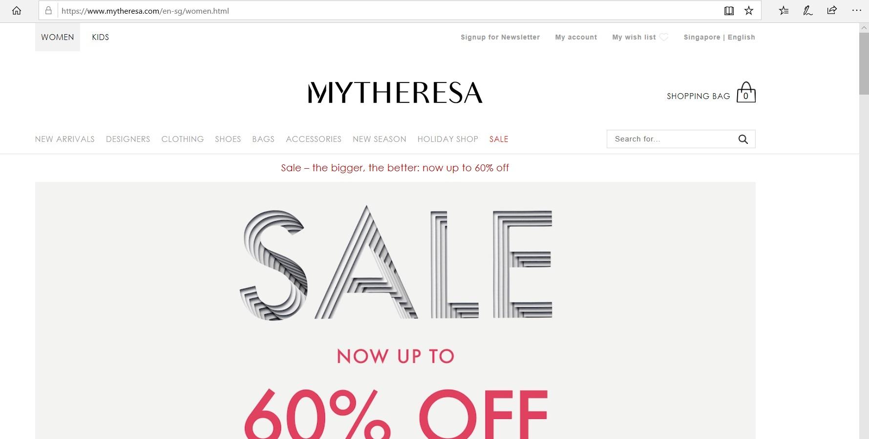Mytheresa website homepage.