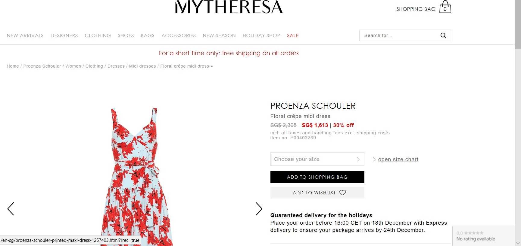 Product page for a floral crepe midi dress.
