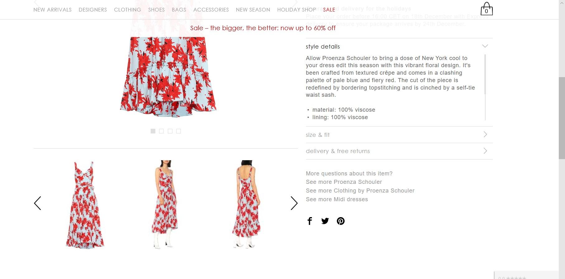 Product description of a chosen dress.