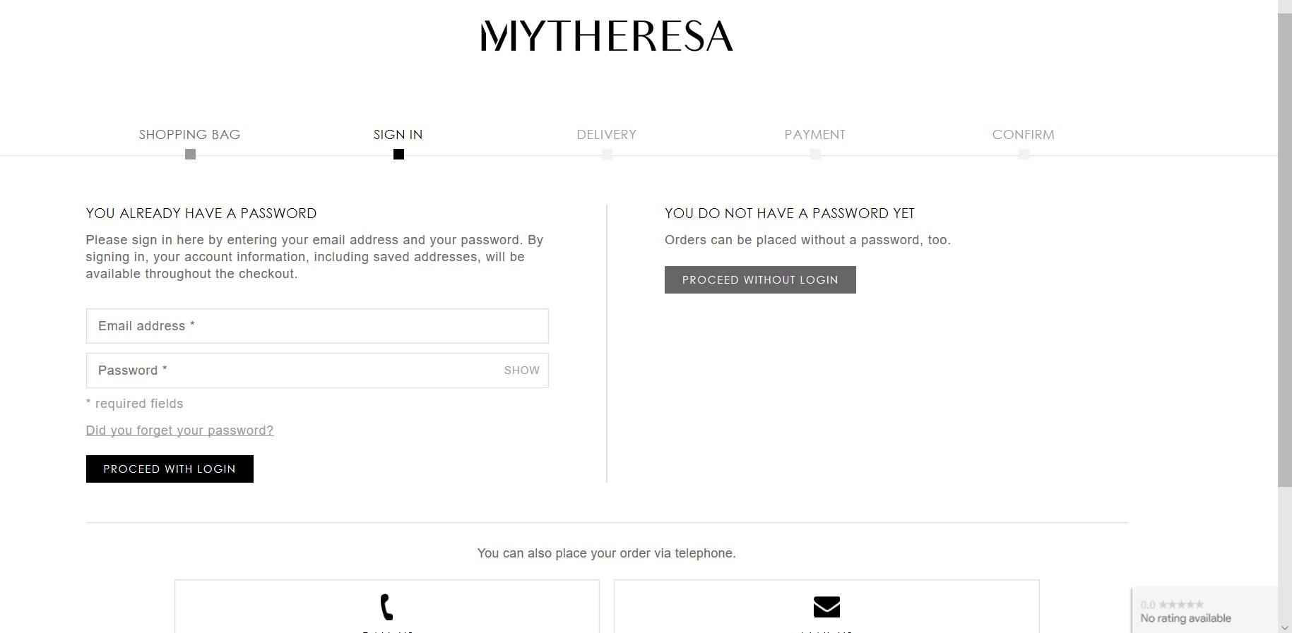 Page to checkout as a Mytheresa member or guest.