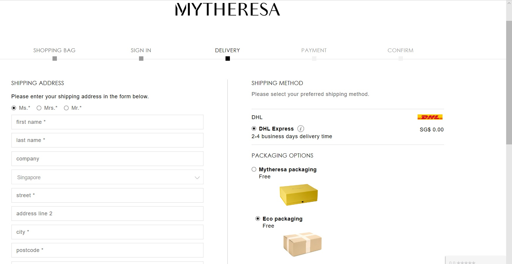 Form to specify shipping address and method.