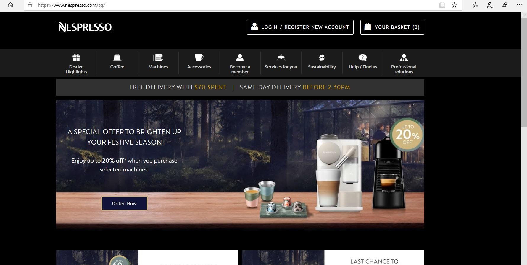 Nespresso website homepage.