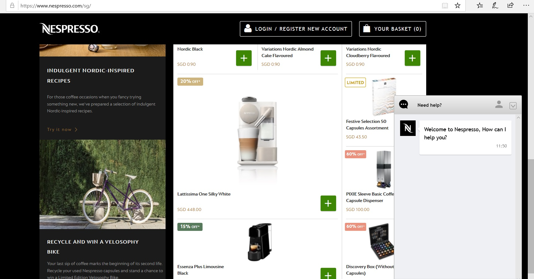 Deals section on Nespresso website.