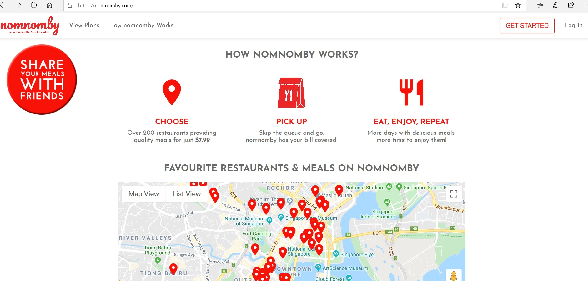 Map indicating restaurants with Nomnomby.