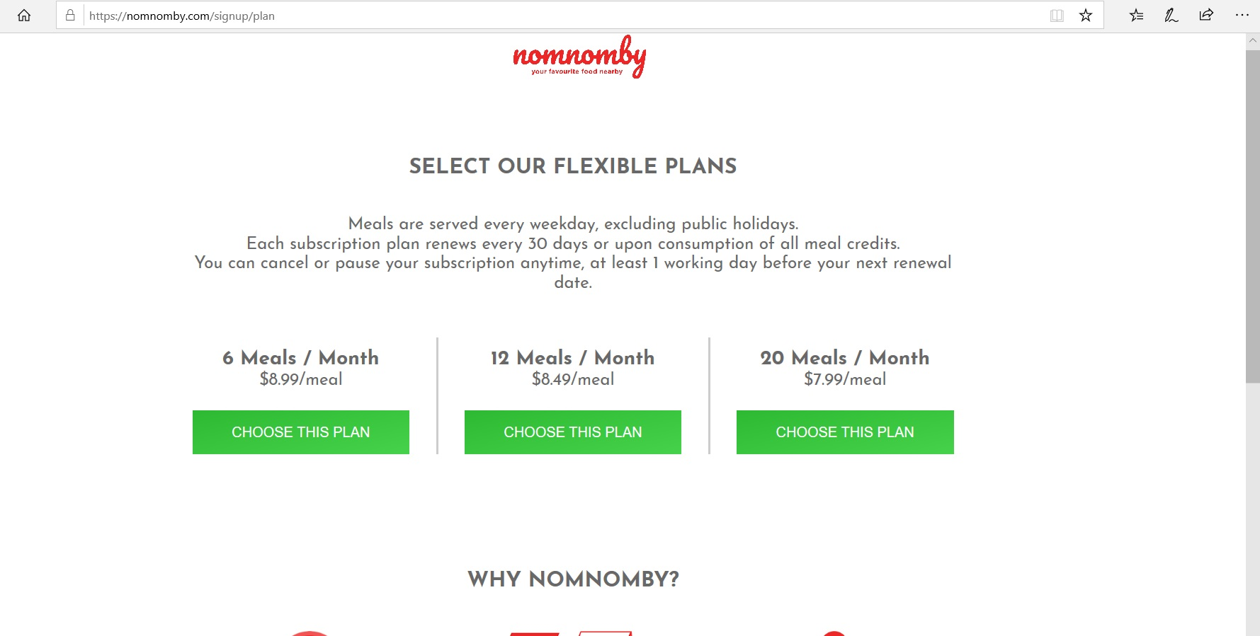 Nomnomby catalogue of meal plans.