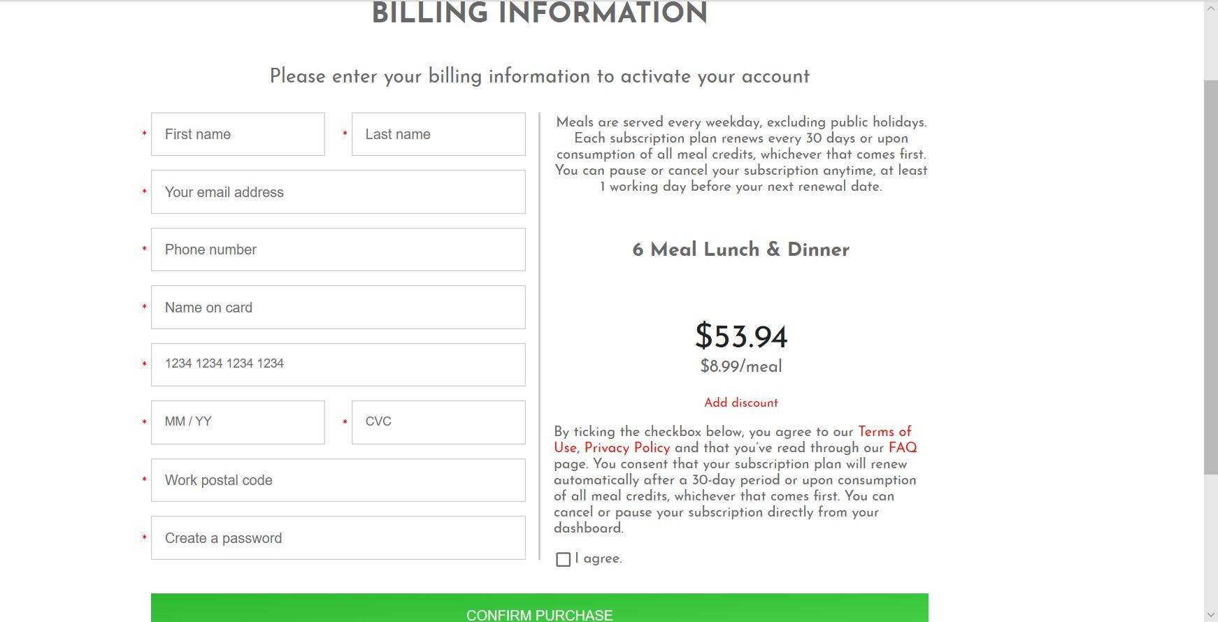 Form to enter billing information.