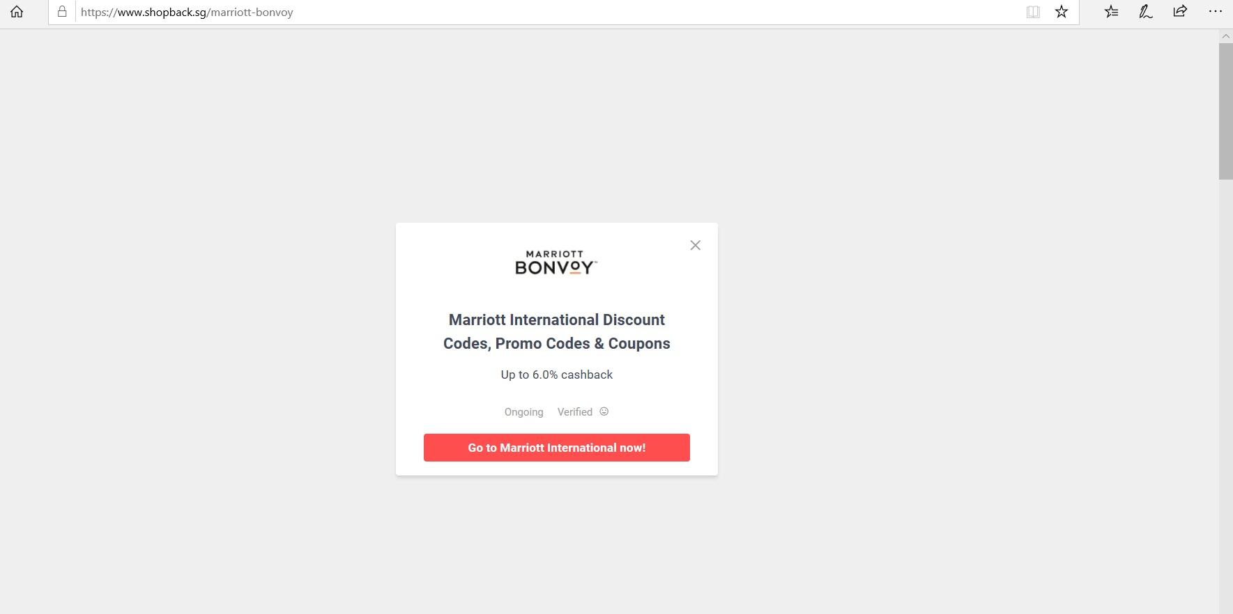Pop-up redirecting to Marriott Bonvoy website.