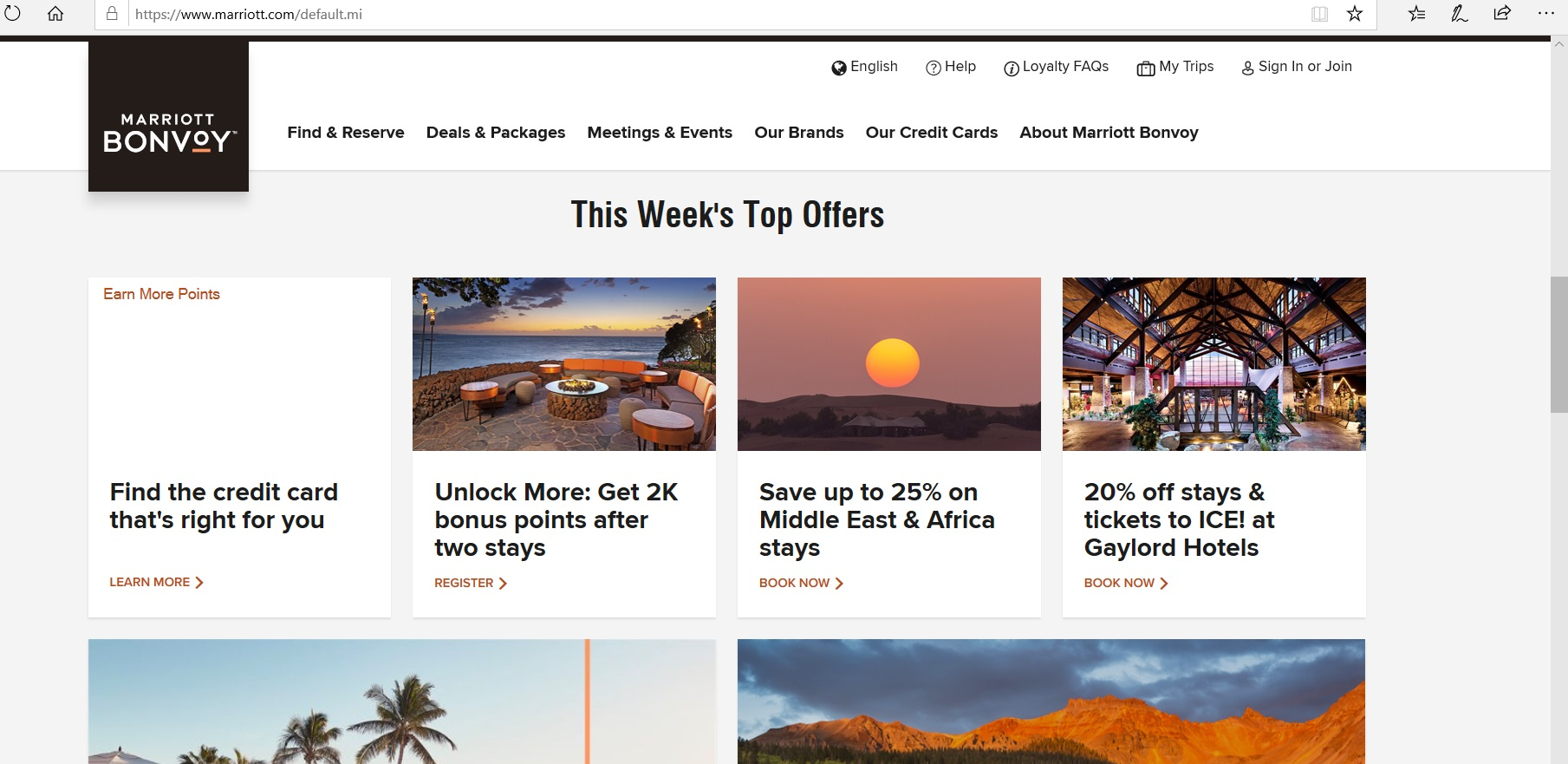 Marriott Bonvoy weekly offers page.