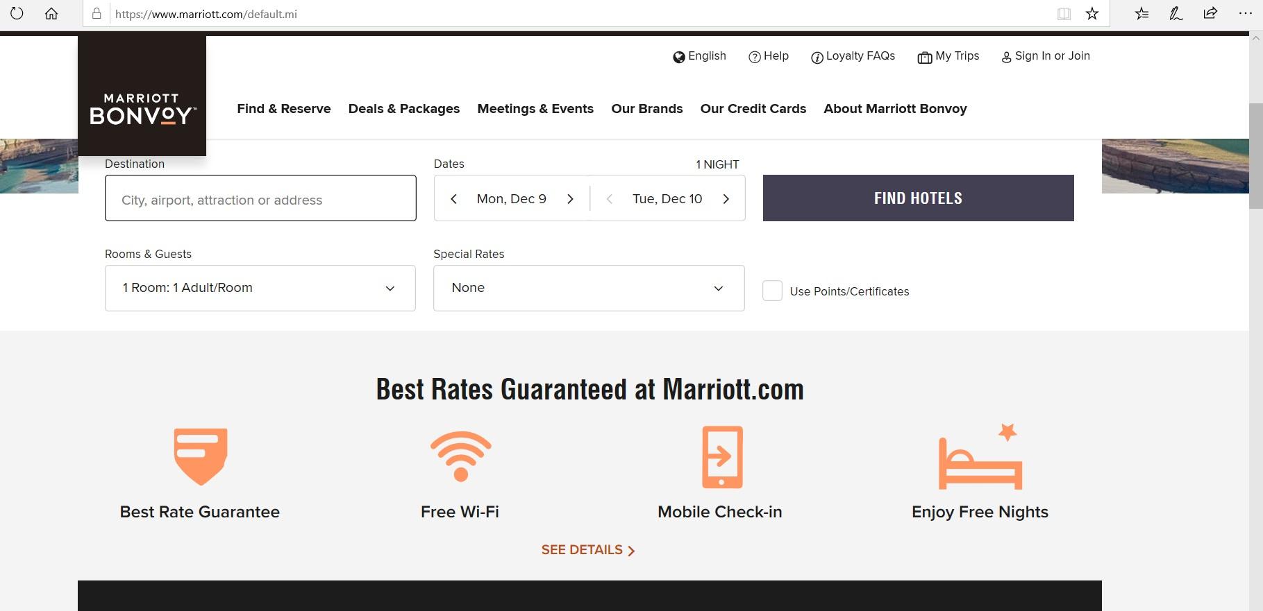 Search engine on Marriott Bonvoy website.