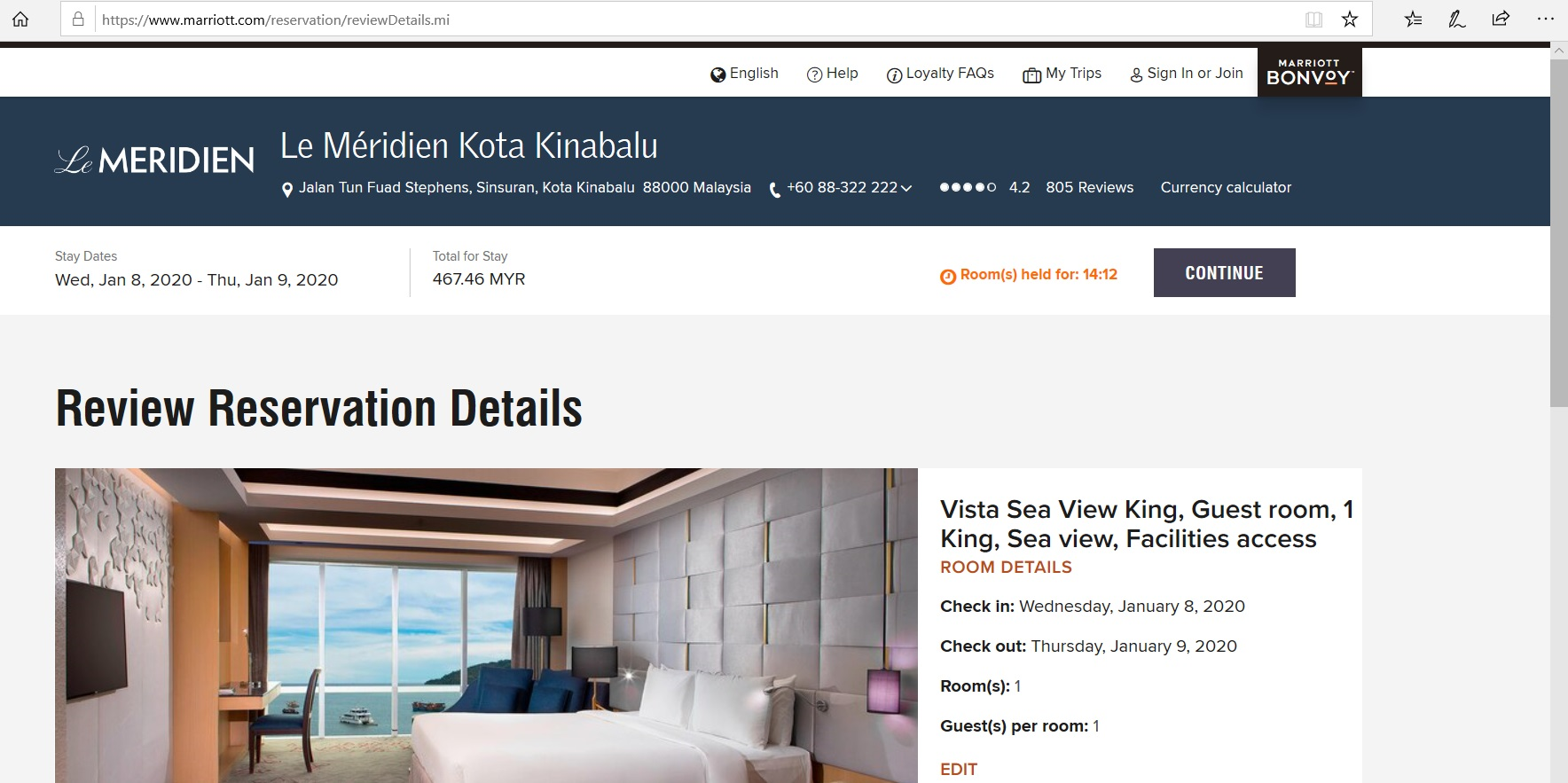 Page to review hotel reservation details.