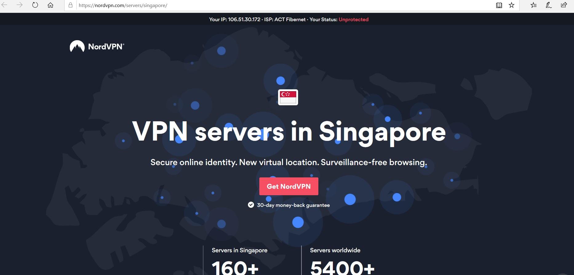 NordVPN website homepage.