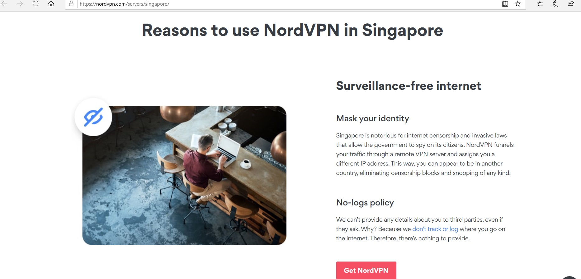 Page listing reasons to use NordVPN.