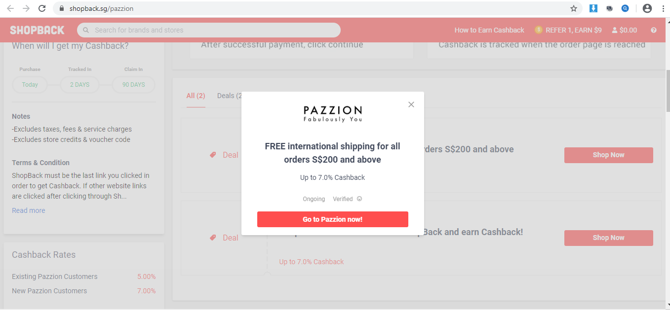 Pop-up redirecting to Pazzion website.