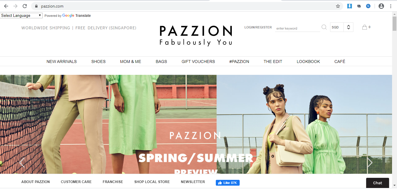 Pazzion website homepage.