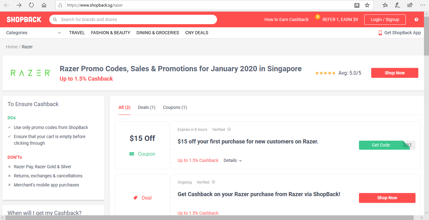 Deals and coupons offered by Razer.