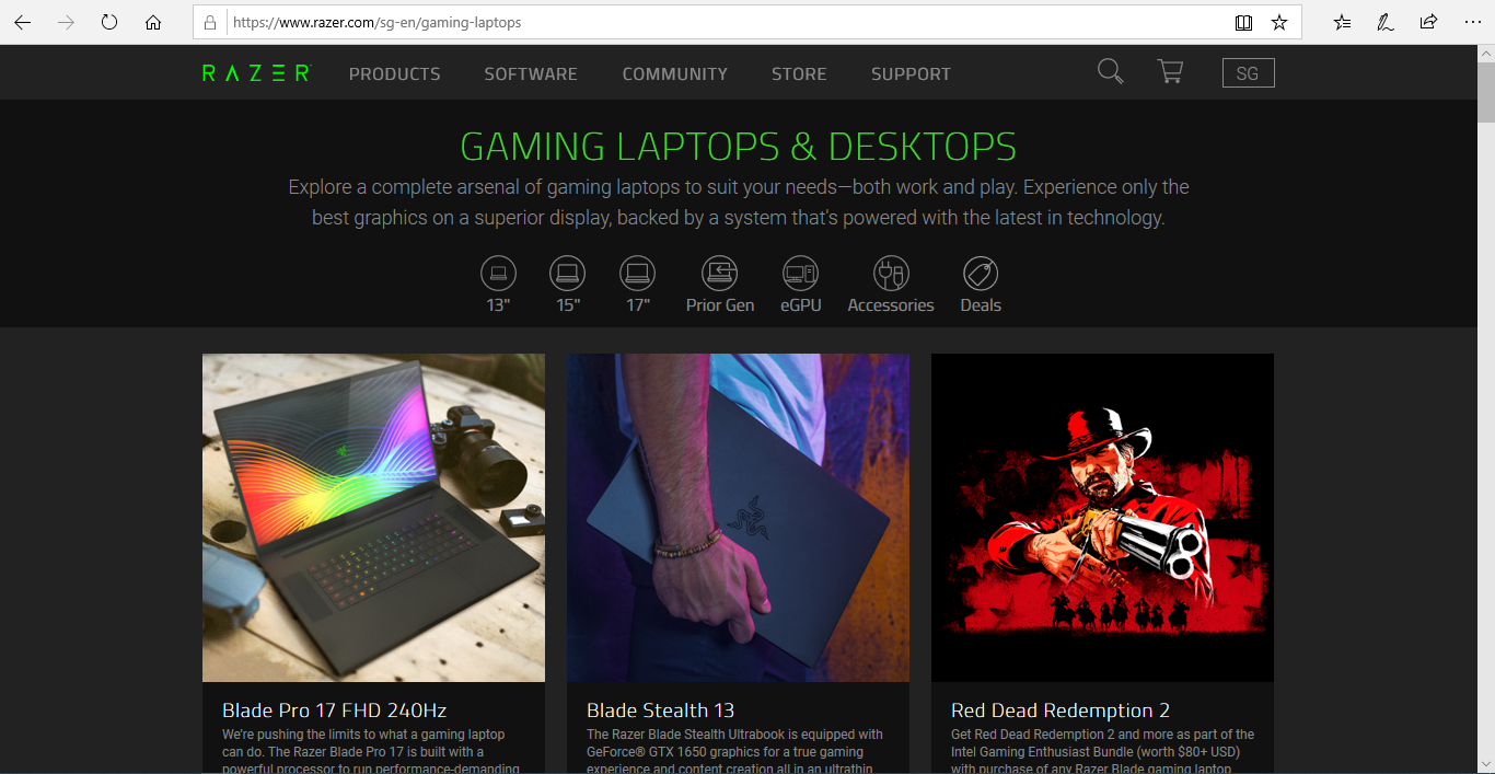 Catalogue of Razer gaming laptops and desktops.