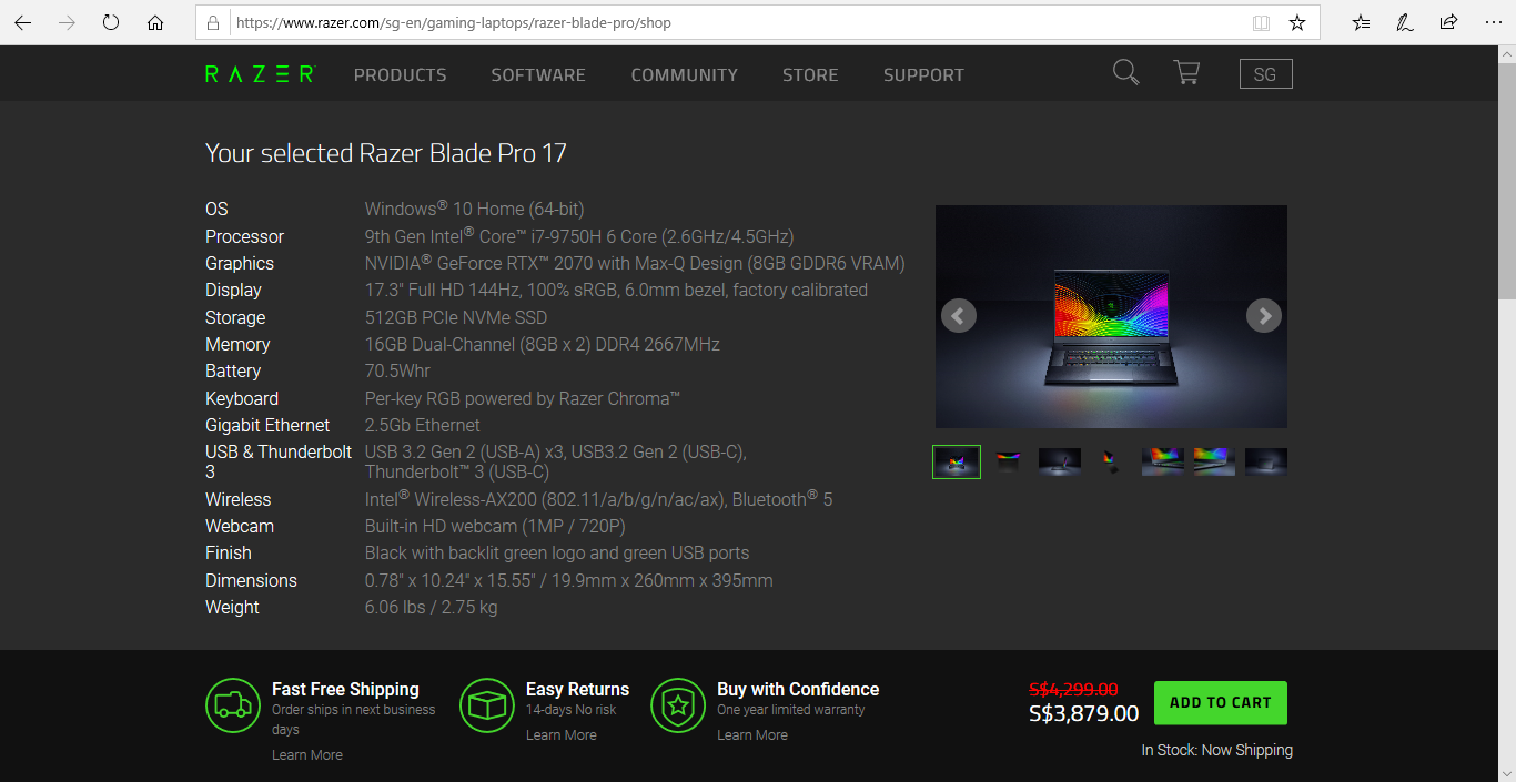 Product specifications of the Razer Blade Pro 17.