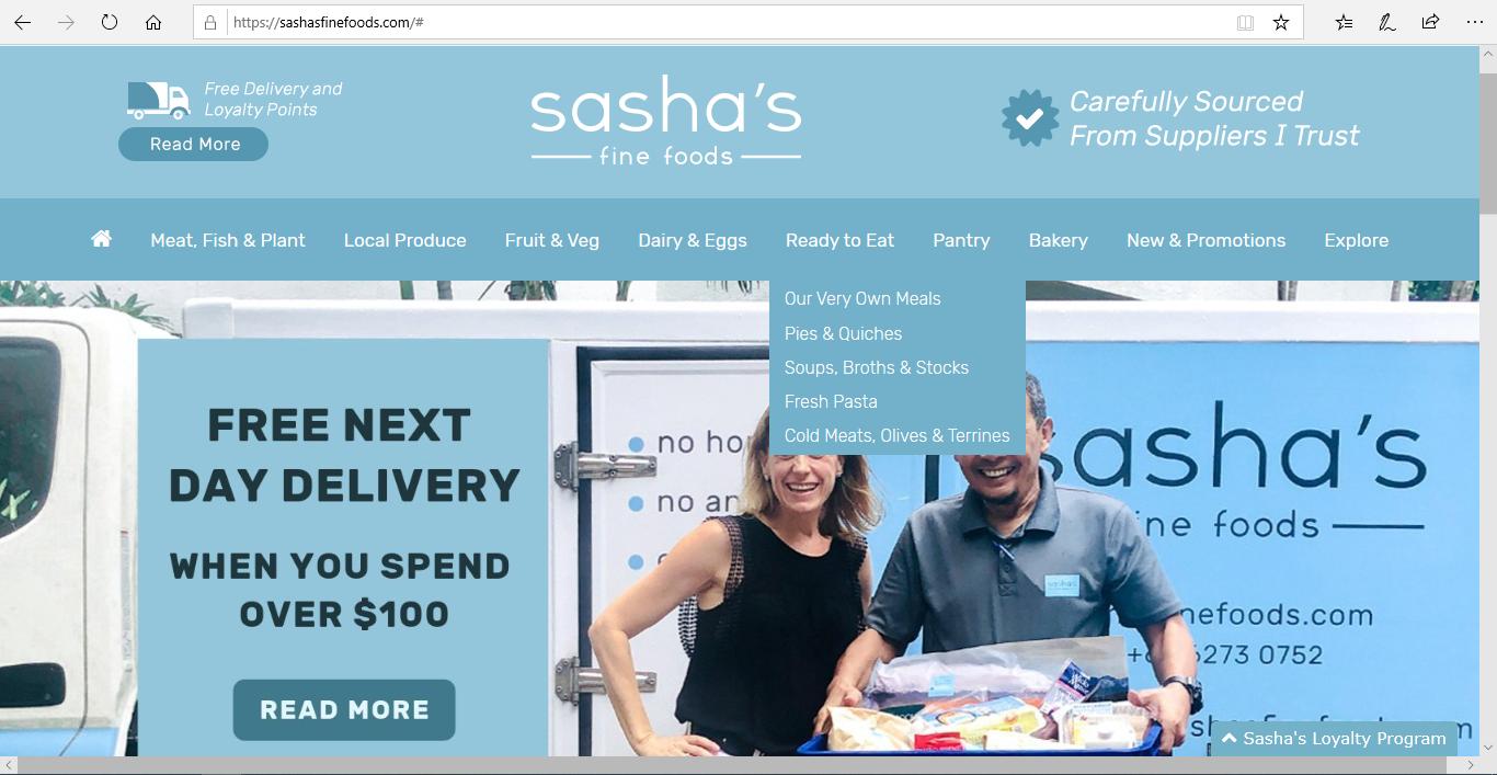 Sasha s Fine Foods website homepage.
