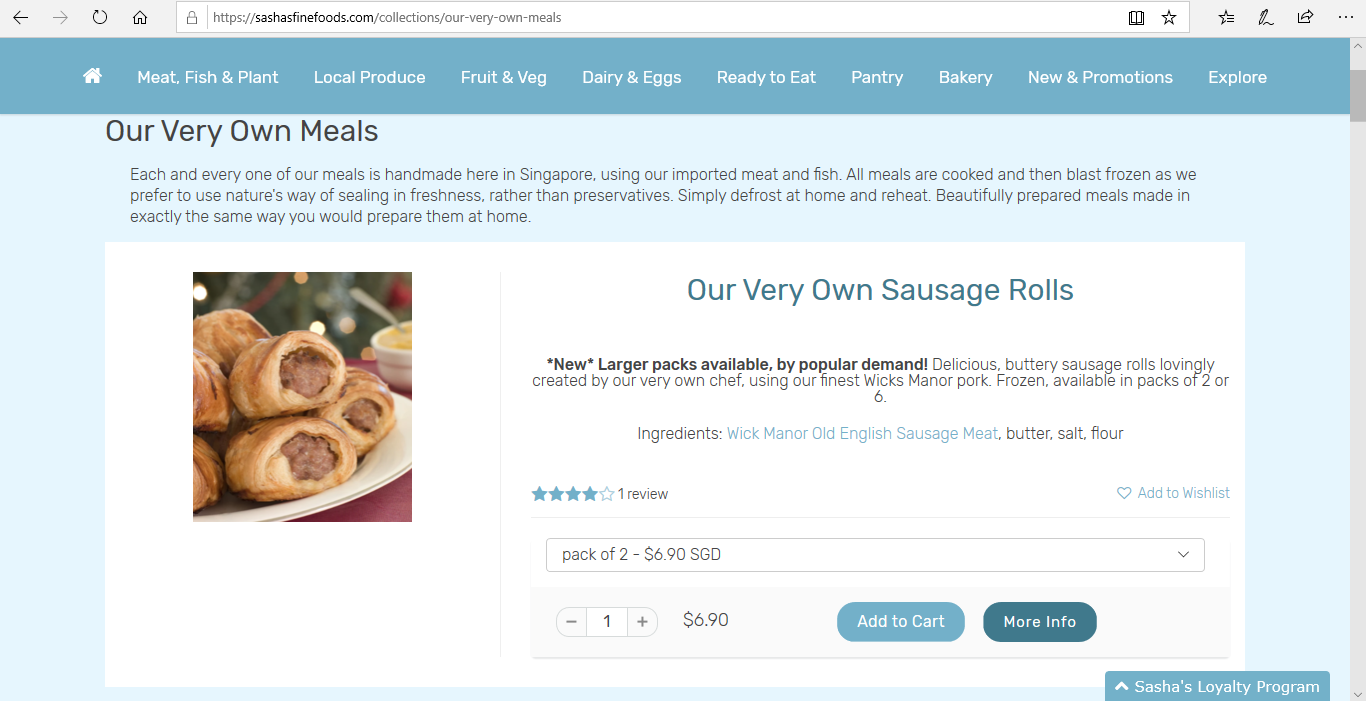 Page to add sausage rolls to cart.