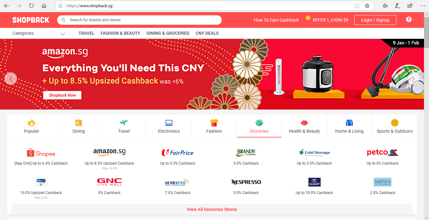 ShopBack website homepage.