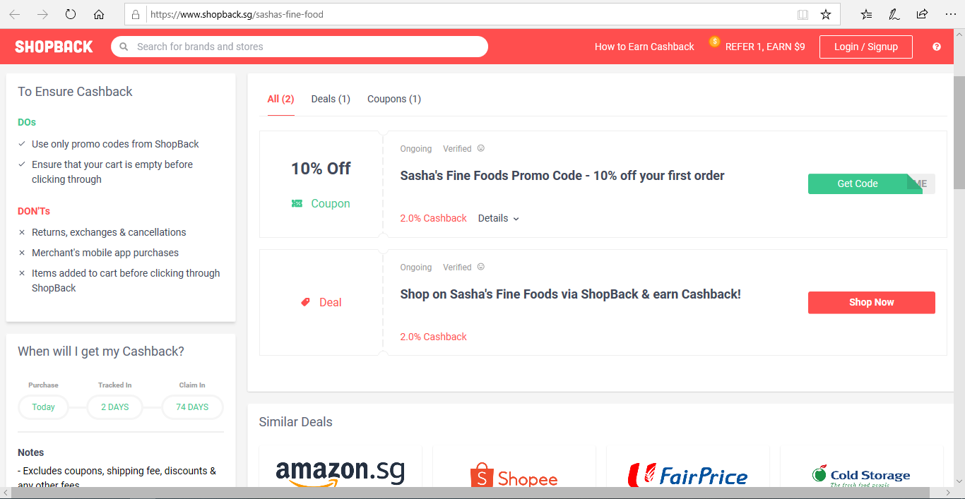 Terms and conditions to ensure Sasha s Fine Foods cashback.