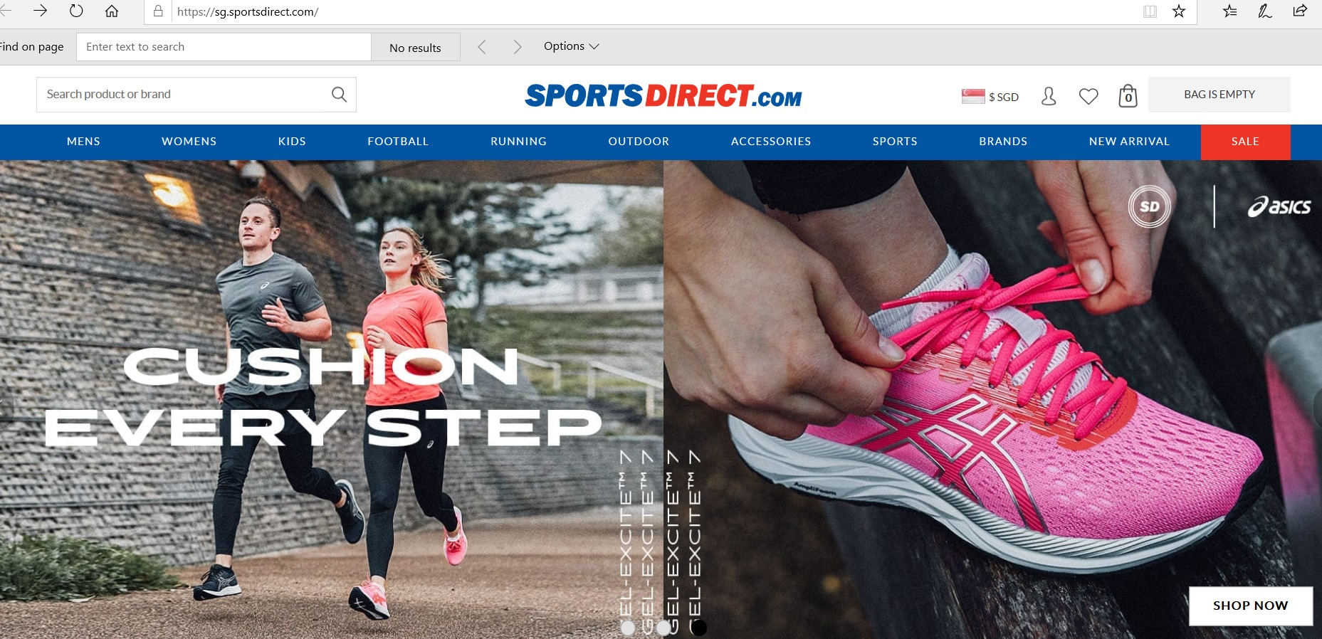 Sports Direct website homepage.