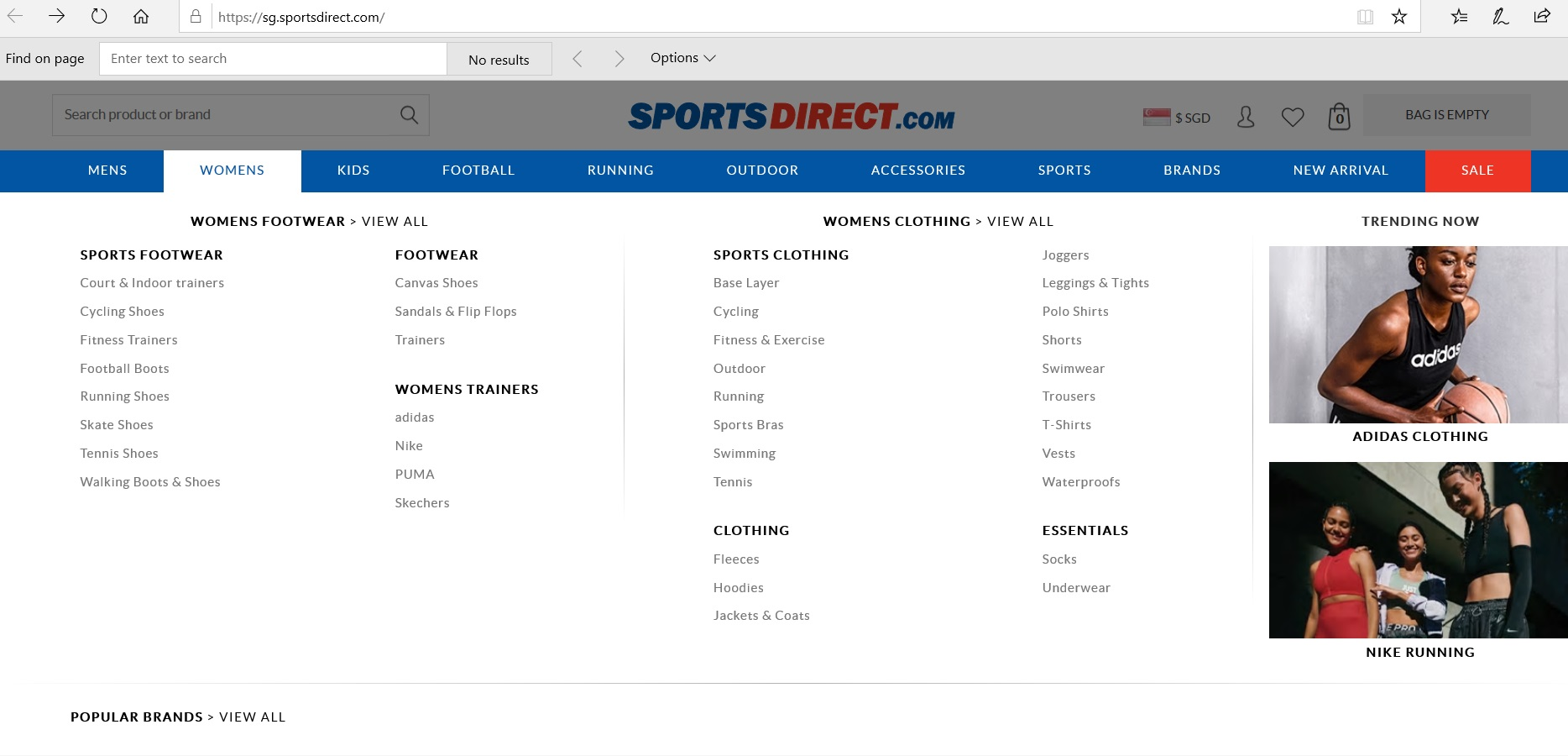 Sports Direct product category dropdown.