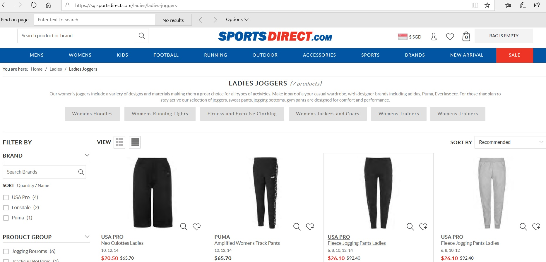 Catalogue of ladies joggers.