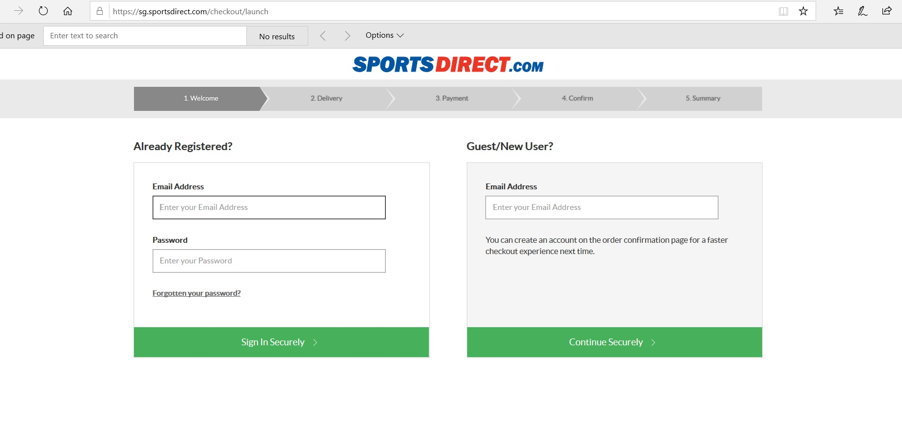 Page to create or sign in to a Sports Direct account.