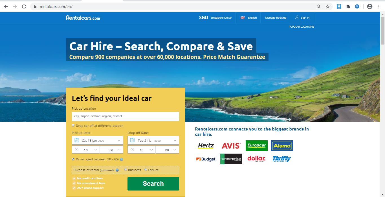Rentalcars.com website homepage.