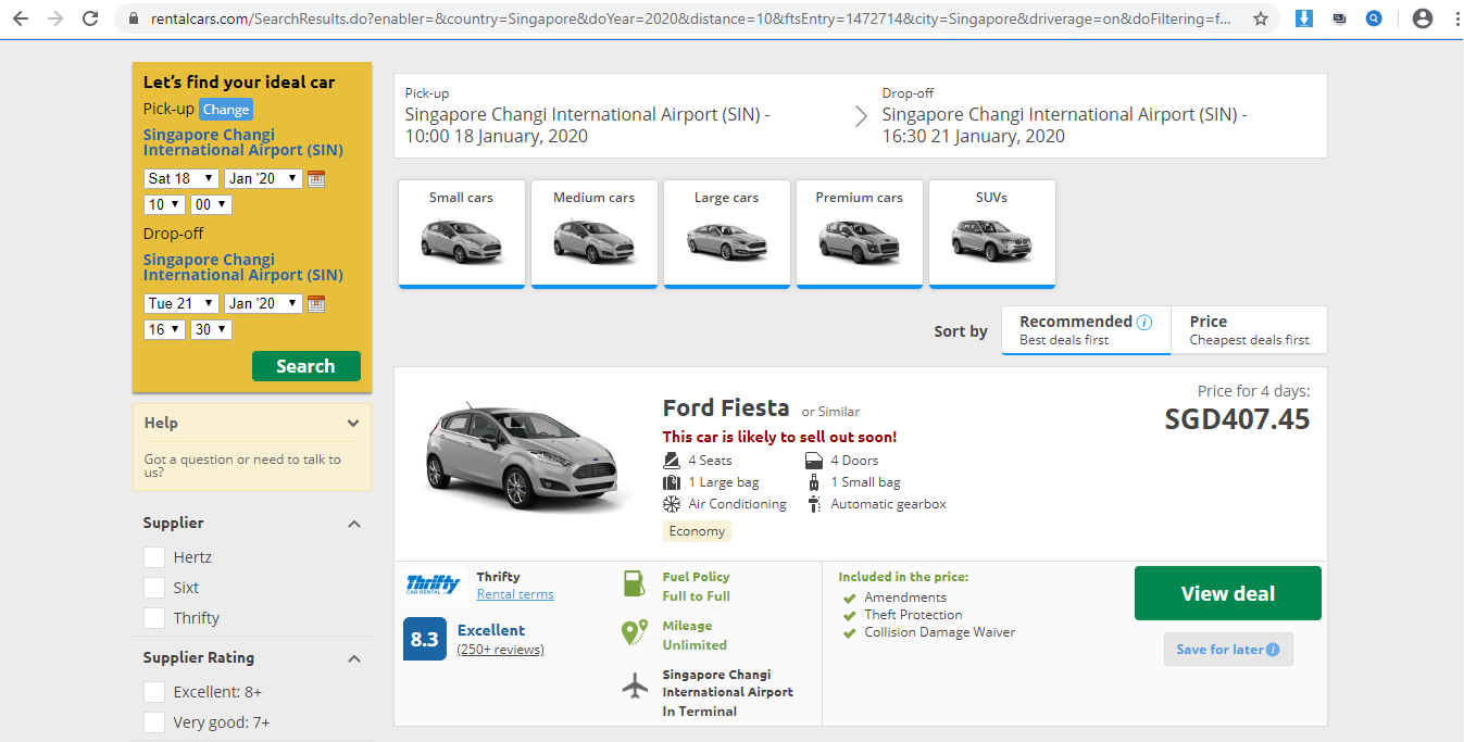 Catalogue of cars for rent on Rentalcars.com