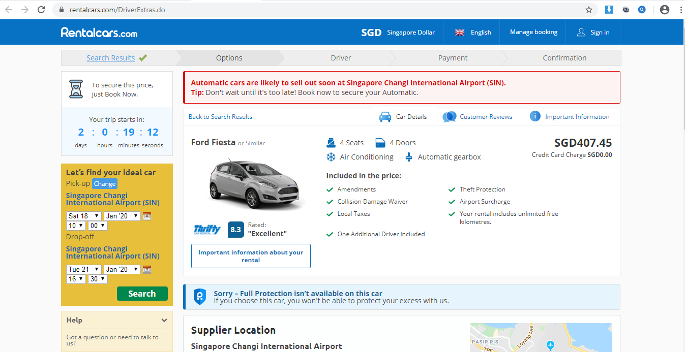 Product and rental information on the car.