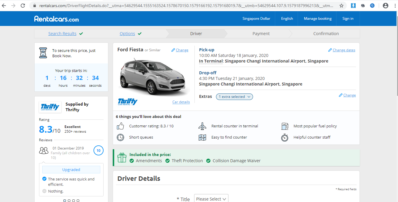 Summary of your car rental.