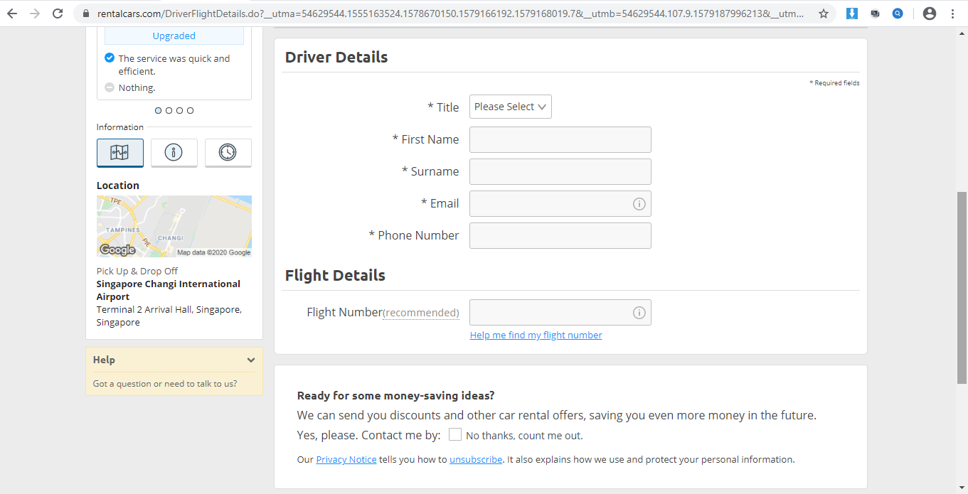 Form to enter driver and flight details.