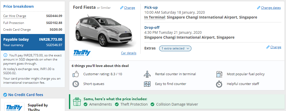 Price breakdown of your car rental.